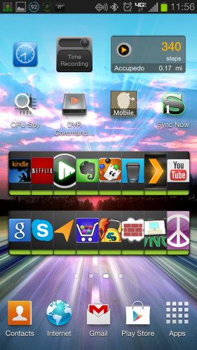 The stock Touchwiz screen