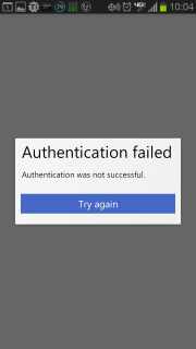 Authentication Failed