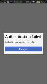 Authentication Failed