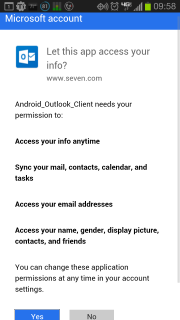 Outlook wants Permissions
