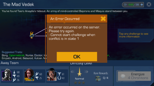 Star Trek Timelines Error